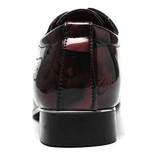Santimon Men Fashion Shoes Dress Pointed Toe Floral Patent Leather Lace Up Oxford Red 13 D(M) US