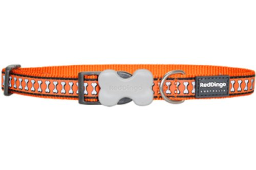 Red Dingo Reflective Dog Collar, Medium, Orange