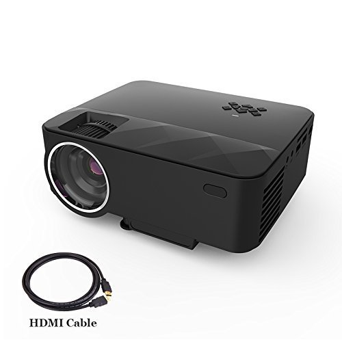 JIFAR Portable Video Projector Support 1080P 1500 Lumenious Efficiency 176″ Screen HDMI USB SD Card VGA AV for Home Cinema TV Laptop Tablets, Smartphones Game with  HDMI Cable