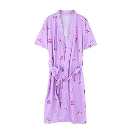 FERFERFERWON Nachthemd Sommer-Damenmantel aus gekämmter Baumwolle dünner kurzärmeliger Langer Yukata-Sommerbaumwollbademantel (Farbe  Lila, Größe  XXXL)
