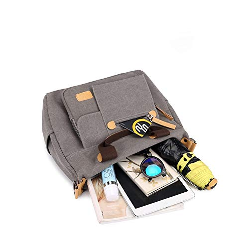 Color : Brown LCLiang Retro Multi-Functional Canvas Bag Single Bag with Zipper for Women