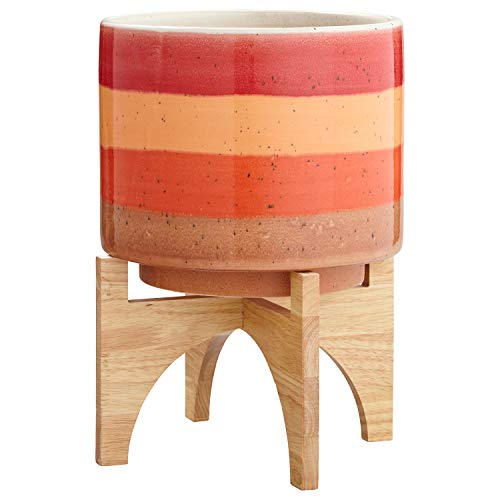 (Rivet Mid Century Modern Ceramic and Bamboo Planter Flower Pot with Stand - 14.5 Inch, Red and)