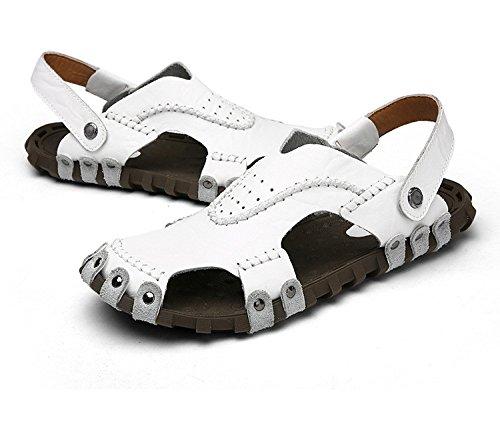 Das neue Männer Schuh Echtleder Sandalen Freizeit Strand Dualer Gebrauch Trend Männer Sandalen ,Weiß,US=7.5,UK=7,EU=40 2/3,CN=41