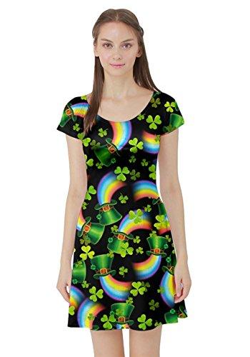 CowCow Womens Shamrock Light Dark Shamrock Style Short Sleeve Skater Dress, Dark - M -