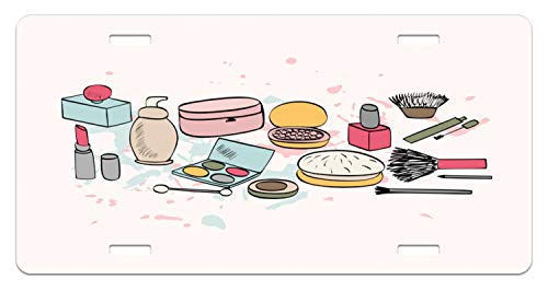 Lunarable Makeup License Plate, Cosmetics Fashion Lipstick Mascara Perfume Pattern Girly Feminine Sketch Design, High Gloss Aluminum Novelty Plate, 5.88 L X 11.88 W Inches, Multicolor ()