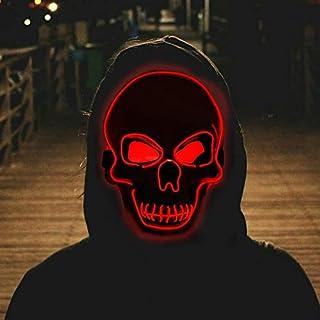 Halloween Mask, Halloween Led Mask Masquerade Cosplay Light Up Face Mask for Men Women Kids (RED)