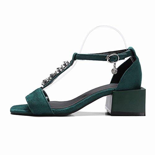 Carolbar Femmes T-strap Boucle Strass Confort Décontracté Sandales Vert Foncé