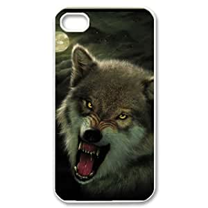 D-PAFD Customized Print Wolf Howling Pattern Back Case for iPhone 4/4S