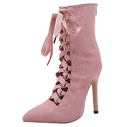 D2c Skönhet Kvinna Strappy Spetsig Tå Hög Klack Stilett Boots Rosa