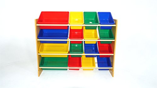 Bookshelf Storage Chest Kids Toy Box Plastic Play Room: From U.S.A ETI Toys -16 Extra Capacity Bins Organizer And