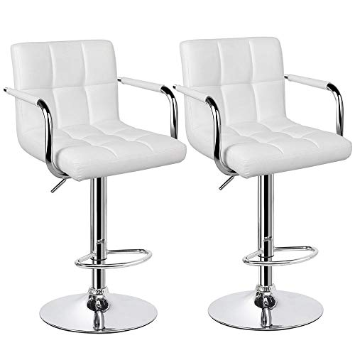 Yaheetech Tall Bar Stools Set of 2 Modern Square PU Leather Adjustable BarStools Counter Height Stools with Arms and Back Bar Chairs 360° Swivel Stool White