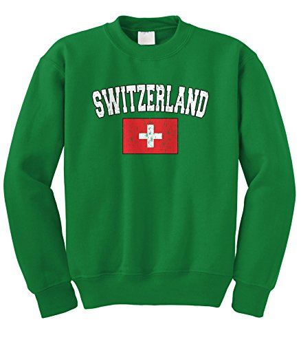 Cybertela Faded Distressed Switzerland Flag Crewneck Sweatshirt (Kelly Green, Large)