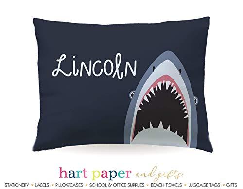 Shark Pillowcase • Personalized Custom Pillow Case Cover Standard 20x30 • Christmas Holiday Birthday Gift Kids Girl Boy