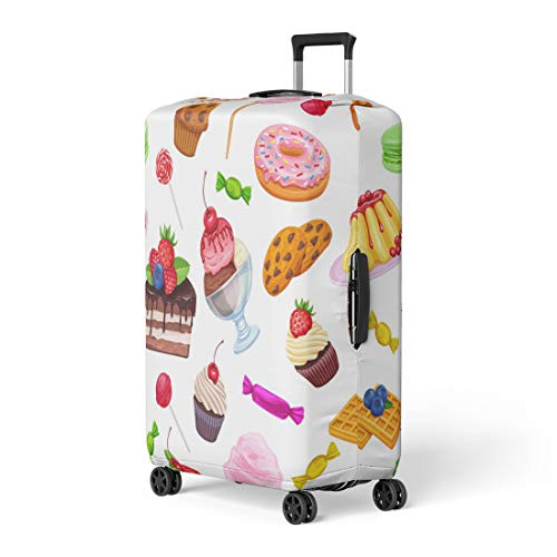 Pinbeam Luggage Cover Confectionery and Sweets Dessert Lollipop Muffin Waffles Candies Travel Suitcase Cover Protector Baggage Case Fits 18-22 inches