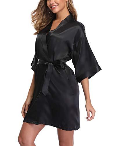 Silky Bridesmaid Robes, Satin Kimono Robe for Women, Pure Colour, Short