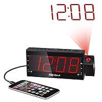 "Mesqool AM/FM Digital Dimmable Projection Alarm Clock Radio with 1.8"" LED Display,USB Charging,Dual Alarm,Battery Backup by Mesqool Ecommerce Co.,ltd"