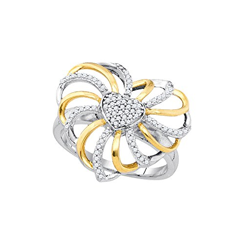 Roy Rose Jewelry Sterling Silver Two-tone Ladies Diamond Openwork Heart Ring 1/4 Carat tw ~ Size 7 - 2 Tone Diamond Heart