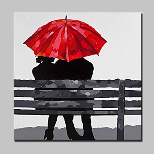 MAOYYM1 100% Pintado A Mano Pintura Al Oleo Decoracion del Hogar Retro Cuadrado Pintura Al Oleo Personalidad Pareja Bajo Paraguas (No Enmarcado