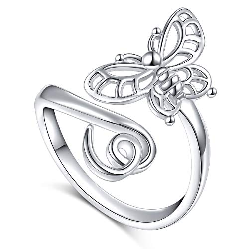SILVER MOUNTAIN 925 Sterling Silver Open Animal Rings for Women (Resizable Ring) (Butterfly) ()