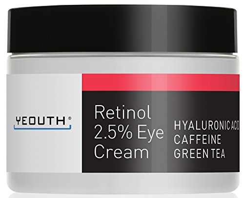 41tR9XaQEyL - Retinol Eye Cream Moisturizer 2.5% from YEOUTH Boosted w/Retinol, Hyaluronic Acid, Caffeine, Green Tea, Anti Wrinkle, Anti Aging, Firm Skin, Even Skin Tone, Moisturize and Hydrate ... (1oz)