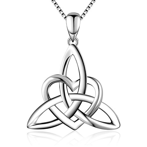 BGTY S925 Sterling Silver Good Luck Irish Celtic Knot Triangle Vintage Love Heart Pendant Necklace for Women,Box Chain 18