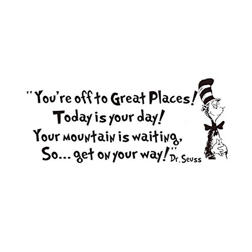 Dr Seuss Mural - Removable Quotes and Saying Dr. Seuss You're Off to Great Places Transfers Murals Love Baby Kids Bedroom