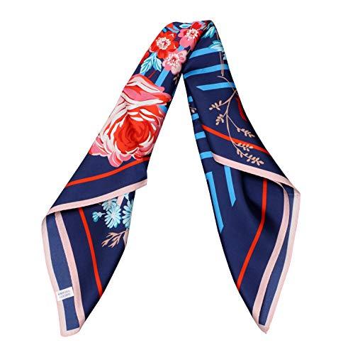 Blue Floral 100% Silk Scarf Neckerchief Women Head Scarves Square 26