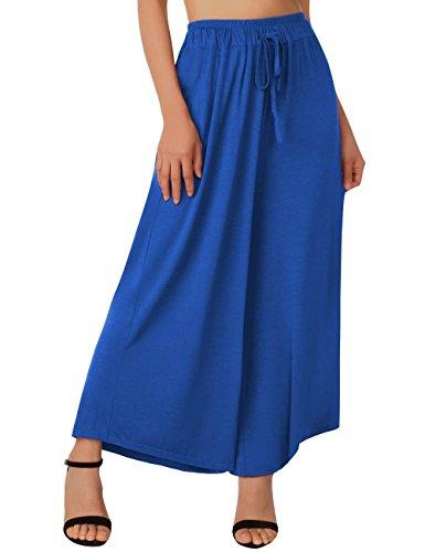 Elegantes Pantalones Cruzadas Cómodo Blau Pierna Palazzo De Mujer Battercake Libre Cintura Tiempo Con Verano Anchas Peso Ligero Alta Correas Fashion Ancha Casuales Mujeres w0xa6x