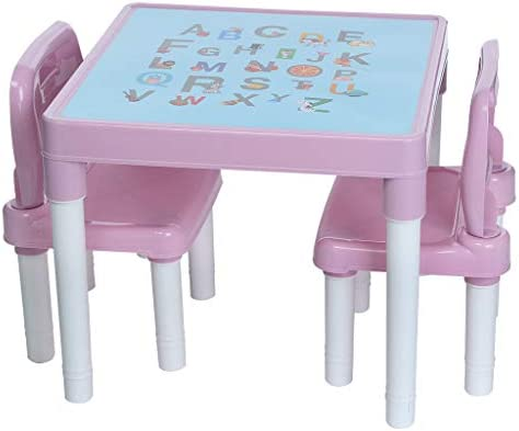 Vibrant Kids Plastic Table and 2 Chairs Set 1 set