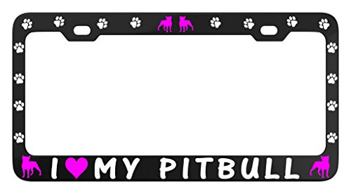 Pit Bull License Plate Frame - I LOVE MY PITBULL DOG PAW Car License Plate Frame Tag Metal, Weatherproof Vinyl Letters Black Pink