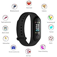 UnTech M3 Fit Band Activity Tracker Heart Rate Monitor, Sleep Monitor, Blood Pressure Monitor, Calore Burned OLED Display Activity Tracker Bracelet Wristband USB Charging for Android iOS (Black)