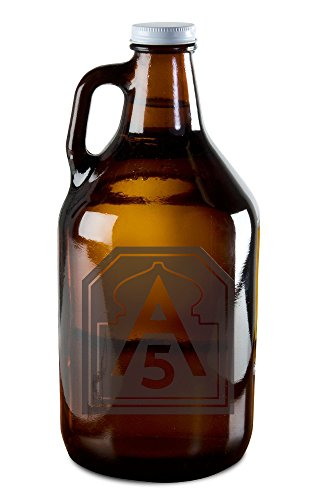 Growler with US Army North SSI - Fifth US Army Patch Etching - For Beer, Wine, Whiskey, or Moonshine - North Coast Beer