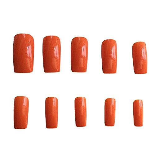 HAMAKA 500 Pcs Full False Nail Fashion Design Nail Art Tips (Orange) -