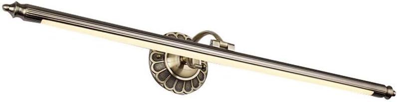 LED Spiegellampe Retro Spiegelleuchte Antik Metall Schminklicht Vintage Spiegelbeleuchtung Acryl Spiegellicht Badezimmer Schlafzimmer Spiegelschrank Schminktisch Warmes Licht 3000K Bronze 50cm