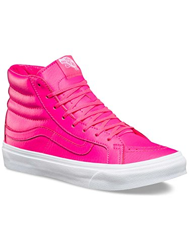 Vans SK8-HI SLIM (NEON LEATHER) mens fashion-sneakers VN-A32R2MW4_5.5 - Neon Pink/True White