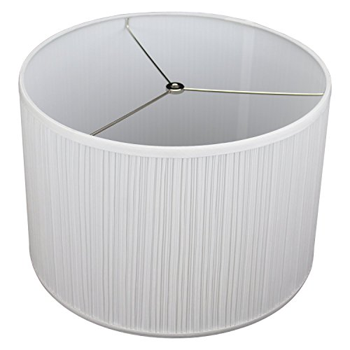 FenchelShades.com 16'' Top Diameter x 16'' Bottom Diameter 11'' Height Cylinder Drum Lampshade USA Made (Pleated White) by FenchelShades.com