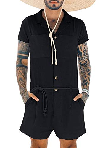Pengfei Mens Rompers Shorts Jumpsuits Short Sleeve One Piece Button Down Casual Coverall with Pockets Black