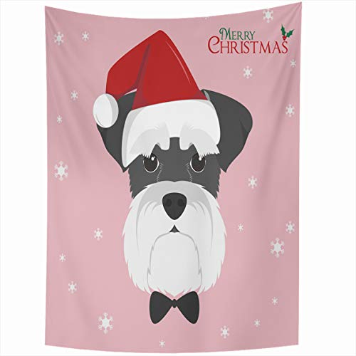 Ahawoso Tapestry 60x80 Inches Flat Christmas Schnauzer Dog Red Santa Hat Adorable Breed Set Wall Hanging Home Decor Tapestries for Living Room Bedroom Dorm