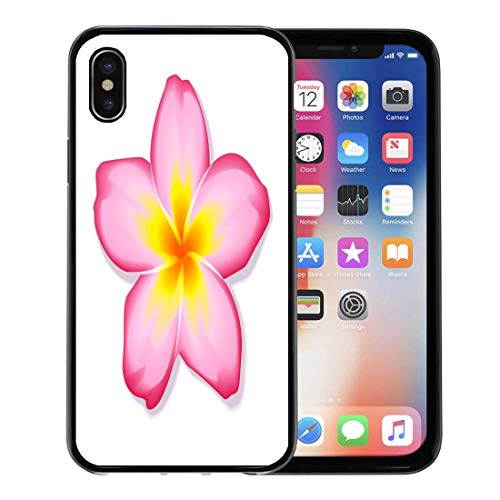Emvency Phone Case for Apple iPhone Xs Case/iPhone X Case,Spa White Hawaiian Pink Frangipani Plumeria Flower Yellow Exotic Soft Rubber Border Decorative, ()