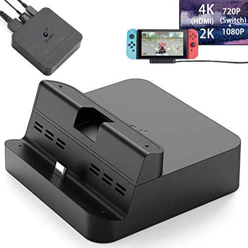 (GuliKit Pocket TV Dock for Nintendo Switch, PD Protocol Avoids Brick, Hyper Trans for 1080P/2K/4K Projection, Magnet Transform Design, Supported Phone or Tablet, Charging Dock with Air Outlet (Black))