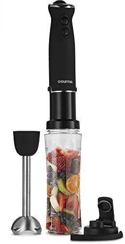 Gourmia GBJ190 Handheld Immersion Blender & Personal Smoothie Maker - Six Speed - Make Fruit Drinks & Shakes Directly In The Bottle (included) with Lid (Blender Handheld compare prices)