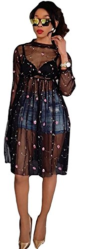 Caumoo Womens Sexy See Through Mesh Embroidered Sheer Evening Party Dresses Black M
