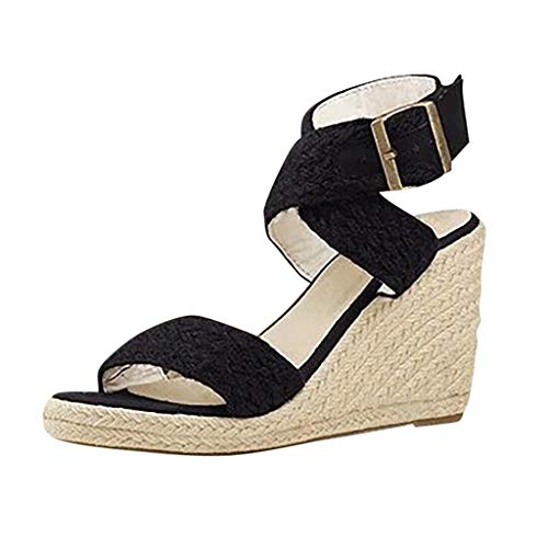 (◕‿◕Watere◕‿◕ Women's Peep Toe Hemp Rope Buckle Strap Bohemia Sandal Wedges Shoes Indoor Outdoor Heels Fish Mouth Sandals Black)