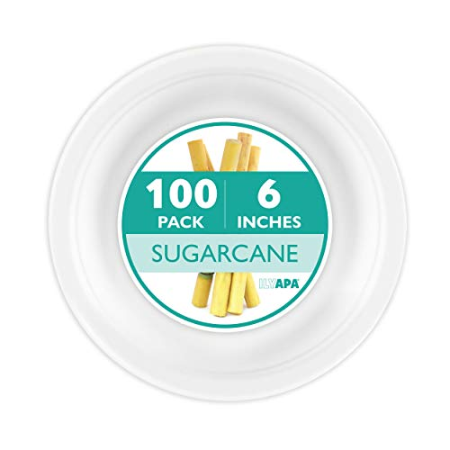 - 100 Biodegradable Disposable Plates - 6 Inch White Compostable & Microwavable Tree Free Sugarcane Plates for Dessert or Appetizer, Bulk Set