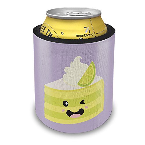 NEONBLOND Key Lime Pie Slice Cute, Japanese Kawaii Food with Face Slap Can Cooler Insulator Sleeve - Key Lime Pie Slice