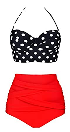 Aixy Women Vintage Swimsuits Bikinis Bathing Suits Retro High Waisted Polka Underwired