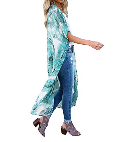 MeiLing Women's Chiffon Bathing Suit Bikini Swimsuit Cover up Swimwear Beach Dress Long Kimono Cardigan Jacket Robe (Print H)