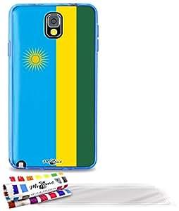 """Carcasa Flexible Ultra-Slim SAMSUNG N9000 de exclusivo motivo [Bandera Ruanda] [Azul] de MUZZANO  + 3 Pelliculas de Pantalla """"UltraClear"""" + ESTILETE y PAÑO MUZZANO REGALADOS - La Protección Antigolpes ULTIMA, ELEGANTE Y DURADERA para su SAMSUNG N9000"""