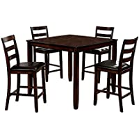 HOMES: Inside + Out IDF-3331PT-5PK Robert Transitional 5-Piece Counter-Height Dining Set, Brown Cherry