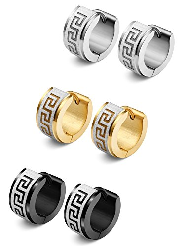 Jstyle Jewelry Stainless Steel Hoop Earrings for Men Women Huggie Earrings Unique Greek Key 3 Pairs S